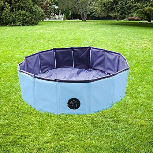 YAOBLUESEA Faltbarer Hundepool Doggy Pool Hunde Pool Badewanne Umweltfreundliche Pool für Haustier Ø 80 x 20 cm Blau