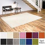 Shaggy-Teppich | Flauschige Hochflor Teppiche fürs Wohnzimmer, Esszimmer, Schlafzimmer oder Kinderzimmer | einfarbig, schadstoffgeprüft, allergikergeeignet (Creme, 080x150 cm)