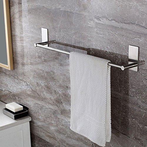ZUNTO Selbstklebender Handtuchhalter und Handtuchstange Ohne Bohren gebürstetem Edelstahl 40cm