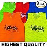Net World Sports Trainings Netzwesten/Trainings-Leibchen/Trainingsleibchen, 5er Pack, in Vier Größen und 5 Farben (Junioren, Blau)