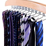 Ohuhu Kleiderbügel Hosenbügel Klemmbügel Metall Gummiert Rutschfest 12 Stücke Schwarz, Durchmesser: 0.5cm, lang:13.5cm (Tie Hangers)