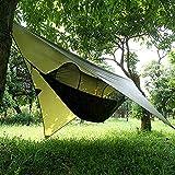 Qrout Camping Hängematte Outdoor mit Moskitonetz und Wasserdicht Plane Ultra-Licht Atmungsaktiv, Schnell Trocknende Fallschirm Nylon Camping Hängematte Field Survival Set