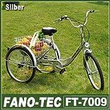 RMAN Dreirad Für Erwachsene Erwachsenendreirad Fahrrad Mit 3 Rädern Seniorenrad Lastenfahrrad 24' Shimano 6-Gang-Schaltung,Silber
