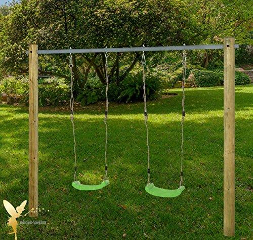 Schaukelgestell Holzschaukel Doppelschaukel mit Stahlrohrstange u. Schaukelsitzen grün - Woodinis