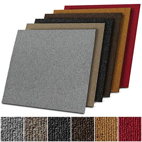 Teppichfliesen selbstliegend Lyon für Büro & Gewerbe - Fliesen Teppiche 50x50 cm - robuster Teppichboden - Bodenfliesen mit rutschhemmendem Vinyl-Rücken (Dunkelgrau, 1 Stück)