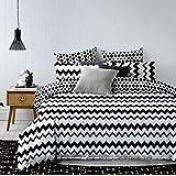DecoKing 84526 Bettwäsche 200x220 cm mit zwei Kissenbezügen 80x80 schwarz weiß geometrisches Muster Bettbezüge Microfaser Bettwäschegarnituren black white Hypnosis Collection Waves