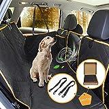 Autoschondecke Hund 165x130 cm, Pet-U Wasserdicht Autodecke mit Seitenschutz Hund Rücksitz + Sichtbarem Fenster + 2 Hund Sicherheitsgurt aus Kratzfester Oxford-Tuch