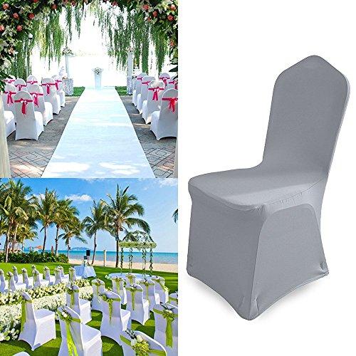 Hengda 50 Stück Universell Stuhlbezüge Stuhlhussen Weiß Stuhlhussen Elastik Stuhl Abdeckung für Hochzeiten und Feiern Pflegeleicht und Langlebig