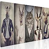 murando - Bilder Hirsch 225x90 cm - Leinwandbilder - Fertig Aufgespannt - Vlies Leinwand - 5 Teilig - Wandbilder XXL - Kunstdrucke - Wandbild - Natur Tier Landschaft g-B-0041-b-m