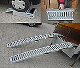 2x Auffahrrampe Stahl 500 Kg (Traglast Paar) klappbare faltbare Rampe Auffahrschiene Motorradrampe Auffahrbock (Traglast 1600 Kg Paar)