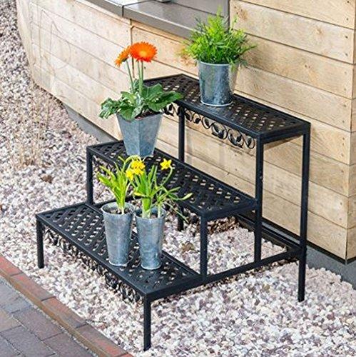 Blumentreppe Blumenständer Gartenregal Blumenregal Pflanzentreppe Regal 3 Ebenen Stahl 70x60x60cm