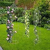 Metall Rankhilfe antik grün 3er-Set Rankgitter Rosensäule Obelisk Spalier Garten
