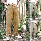 Gusspower_ Herren Hose Leinenhose Stoffhose Regular Fit Leinen mit Kordelzug Straight Lange Hose Männer Mode Sommerhose (Grau, 3XL)