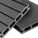 WPC Terrassendielen Basic Line - Komplett-Set Hellgrau | 28m² (4m x 7m) Holz-Brett Dielen | Boden-Fliesen + Unterkonstruktion & Clips | Balkon Boden-Belag + rutschfest + witterungsbeständig