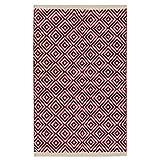 Fair Trade Diamond Weave 100% Baumwolle Handwebteppich mit genähter Kante 60x90cm, Textil, rot, 60 x 90