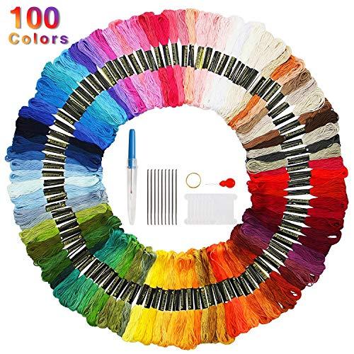 FAMINESS Stickgarn 100 Farben Embroidery Threads Nähgarne Stickerei Basteln Crafts Floss Set 100% Baumwolle perfekt für Freundschaftsbänder, Stickerei, Knüpfen Knüpfen, BastelnKreuzstich