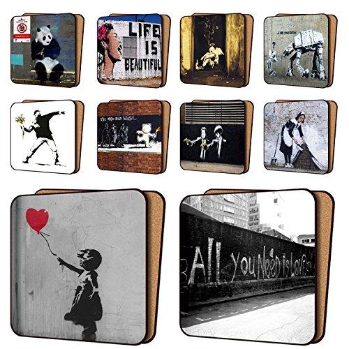 Banksy Untersetzer, bedruckt, 10Stück New Art Untersetzer Möbel, Geschirr-Sets 11cm x 11cm