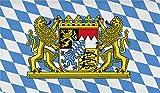 Flagge Großformat 250 x 150 cm wetterfest Fahne in 16 verschiedenen Ausführungen mit Ösen Farbe Bayern