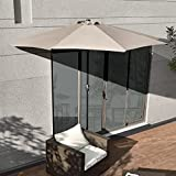 [casa.pro] Sonnenschirm mit Kurbel beige halbrund creme Ø300cm groß Balkon Garten