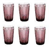Vintage 6 Teile Set Glasnetz NEU Champagne Trinkglas Glas Gläser Weingläser Wasserglas Longdrinkglas (lila, 6 Stück Trinkgläser)