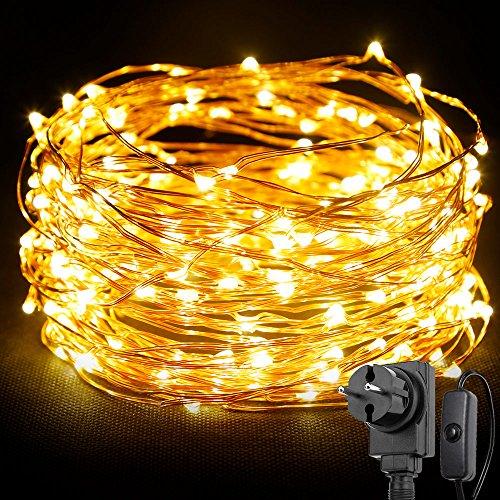LE 20M 200 LEDs Kupferdraht LED Kupfer Lichterkette Wasserdicht Sternen Lichterketten mit schalter Warmweiß