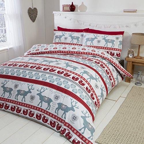 Christmas Hearts Biber-Bettwäsche-Set, 100% gebürstete Baumwolle, Bettbezug und 2Kissenbezüge, Rot/Mehrfarbig, Baumwolle, Red/Multi-Colour, Doppelbett