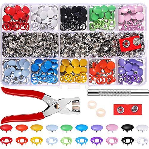 200 Set Hohle Feste Druckknöpfe Set Metall Ring Button Druckknöpfe für Baby Kinderbekleidung Sewing Craft 9,5 mm, 10 Farben
