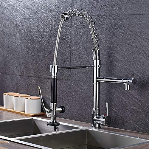 Gastro Profi Spültisch Küche Armatur Mischbatterie Wasserhahn Brause Spiralfeder Ausziehbar Chrom 360° Schwenkbar