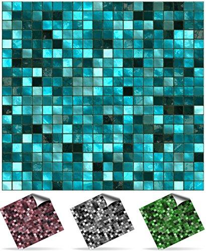 24 stück Fliesenaufkleber für Küche und Bad (Tile Style Decals 24xTP3-6'-Turquoise) | Mosaik Wandfliese Aufkleber für 15x15cm Fliesen Deko Fliesenfolie für Küche u. Bad (15cm 24 stück, Türkis)