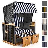 Sanzaro Strandkorb XL120 cm Deluxe Zweisitzer Holz und Poly-Rattan Volllieger 4 x Kissen klappbare Rückenlehne 2 Personen Blau-Weiss Blockstreifen