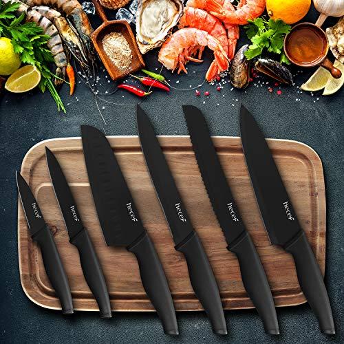 hecef Schwarz Oxid Messerset von 6 mit Passend Klinge Schützend Messerscheide,Schwarz Oxid Set mit Messer,Kratzen Beständig und Rostiger Beweis, Nicht -Stick Schwarz Farbe Beschichtung Klinge Messer