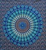 raajsee Blau Farbe Thema Mandala Wand Gobelin, Tapisserie, Psychedelic indische Pfau Bettwäsche, Bohemian, zum Aufhängen Blütenmuster Bett, Hippie Tapisserie