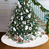 Royaliya Baumdecke Weihnachtsbaum Rock Christbaumdecke Rund Weiß Weihnachtsbaumdecke Christbaumständer Teppich Decke Weihnachtsbaum Deko (152CM)