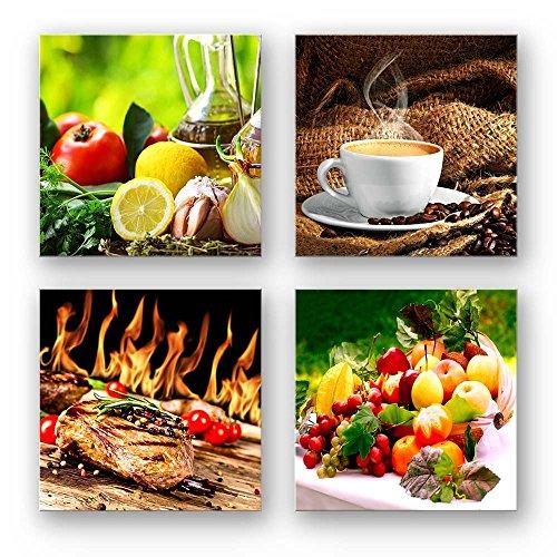 Küchen Bilder Set C schwebend, 4-teiliges Bilder-Set jedes Teil 29x29cm, Seidenmatte Optik auf Forex, moderne Optik, UV-stabil, wasserfest, Kunstdruck für Büro, Wohnzimmer, Deko Bild, Kaffee Obst Wein