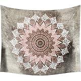 Dremisland Grau und Rosa Lotus Tapisserie wandteppich indisch Mandala hippie Bohemien Orientalisch wandtuch wandbehang Blume Wand Dekoration Tapestry (L/203x153cm(80x60inch))
