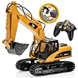TopRace 15 Kanal Voll Funktionale Fernbedienung Bagger Bau Traktor, Bagger Spielzeug mit 2,4 Ghz Transmitter 2 in 1 mit auswechselbaren schaufel TR-215/211