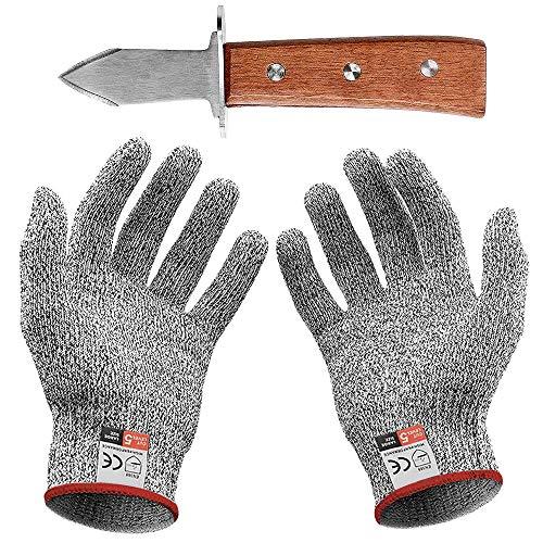 Austernöffner-Set : Austernmesser und Schnittschutzhandschuhe (Küche Gartenarbeit)(Groß)