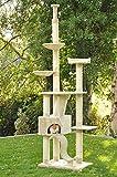 nanook Katzen-Kratzbaum Sigurd, groß XXL deckenhoch (275 cm), große Höhle, 2 Liegemulden, schwer und standfest, Kratzstämme 11 cm Ø - beige