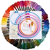Stickgarn Kit Stickerei Kreuzstich FUYIT 72 Farben Stickgarn Mehrfarbigen 5 Pcs Stickrahmen 1 Stoff Bestickt mit Tools Zubehör für Kreuzstich Stricken Nähgarne Stickerei Basteln Crafts Floss Set Sticktwist
