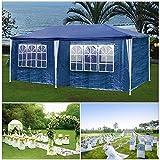 HG Partyzelt festzelte 3x6m blau Camping Vereinszelt Strand Stahlkonstruktion mit extra dickem Stahlgestänge Wasserdicht Fenster inkl. 6 abnehmbaren Seiten Festzelt