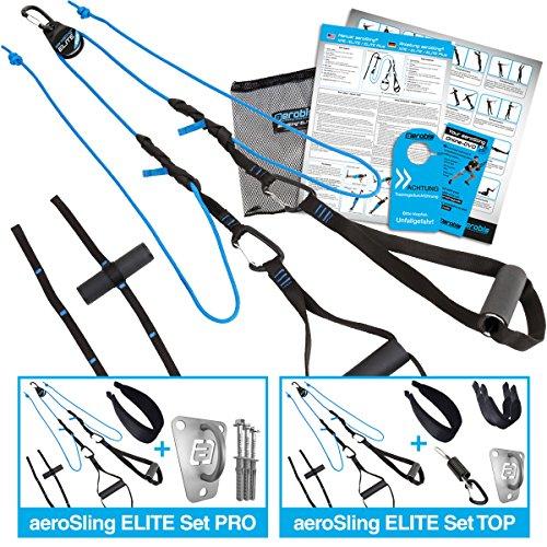 aeroSling ELITE Plus, Schlingentrainer mit Umlenkrolle, Hochleistungs Slingtrainer mit Fitness DVD, Poster, Türanker