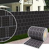 Dazone PVC Sichtschutzstreifen Zaunfolie blickdicht inkl. 30 x Befestigungsclips 19 cm x 70 m (Rattan-Anthrazit)