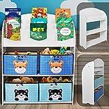 Infantastic Kinderregal mit 4 Boxen | 82.5 x 97.5 x 29.5 cm, 3 Ablagen für Bücher, Motiv (Bär und Katze) + Weiß | Kinderschrank, Aufbewahrungsregal, Bücherregal, Spielzeugregal für Kinder