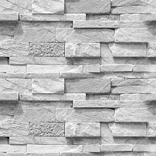 murando - Fototapete selbstklebend 10m 3D Tapete Wandtattoo dekorative Möbelfolie Dekorfolie Fotofolie Wandaufkleber Wandposter Wandsticker - Steinoptik Steinwand grau f-A-0691-an-b