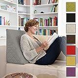 Sabeatex Rückenkissen, Keilkissen für Couch und Sofa, Lesekissen für bequemes Sitzen. 5 Unifarben für trendiges Wohndesign. Louge-oder Palettenkissen Größe 60 cm x 50 cm x 30 cm (grau)