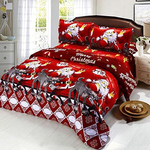Anself 4tlg Bettwäsche Set mit 3D Weihnachten Muster