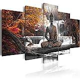 murando - Bilder 200x100 cm Vlies Leinwandbild 5 TLG Kunstdruck modern Wandbilder XXL Wanddekoration Design Wand Bild - Buddha Landschaft Natur Wasserfall Baum Wald c-A-0021-b-p