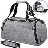 Sporttasche Männer Reisetasche mit Schuhfach Gym Fitness Tasche mit Rucksack-Funktion 40 Liter Handgepäck Weekender Groß für Herren und Frauen (Grau)