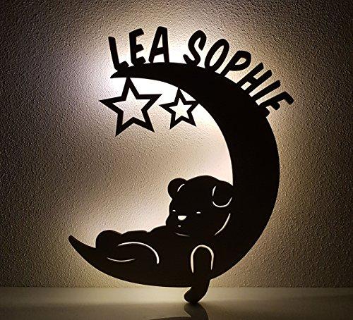 Schlummerlicht / Nachtlicht - Mond mit Bär - personalisiert mit Namen - Optional auch mit Lackierung und / oder Zugschalter - 50% dickeres Holz als bei den Mitbewerbern!