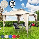Deuba Pavillon Sairee 3,5x3,5m | Wasserdicht | Dachhaube | Festzelt Partyzelt Gartenzelt | Farbauswahl | UV-Schutz 50+| Creme